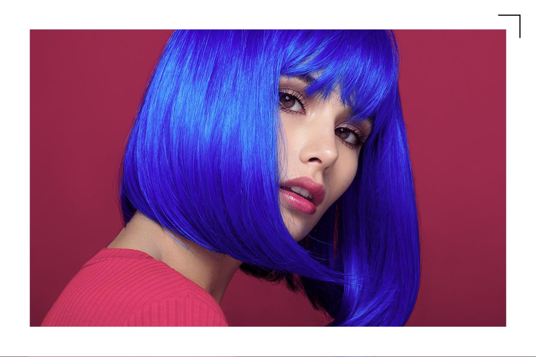 Cabelo colorido azul